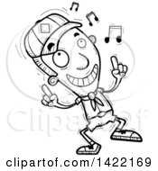 Clipart Of A Cartoon Black And White Lineart Doodled Boy Scout Dancing To Music Royalty Free Vector Illustration by Cory Thoman