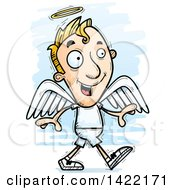Clipart Of A Cartoon Doodled Male Angel Walking Royalty Free Vector Illustration