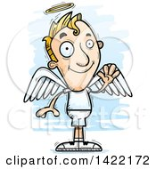 Clipart Of A Cartoon Doodled Male Angel Waving Royalty Free Vector Illustration
