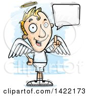 Clipart Of A Cartoon Doodled Male Angel Holding Up A Finger And Talking Royalty Free Vector Illustration