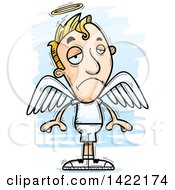 Clipart Of A Cartoon Doodled Depressed Male Angel Royalty Free Vector Illustration