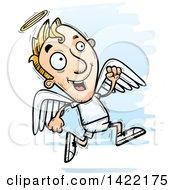 Poster, Art Print Of Cartoon Doodled Male Angel Running