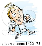 Clipart Of A Cartoon Doodled Male Angel Running Royalty Free Vector Illustration