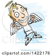 Clipart Of A Cartoon Doodled Male Angel Jumping For Joy Royalty Free Vector Illustration