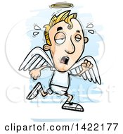 Clipart Of A Cartoon Doodled Exhausted Male Angel Running Royalty Free Vector Illustration