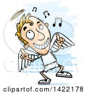 Clipart Of A Cartoon Doodled Male Angel Dancing To Music Royalty Free Vector Illustration