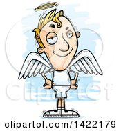 Clipart Of A Cartoon Doodled Confident Male Angel With Hands On His Hips Royalty Free Vector Illustration
