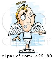 Clipart Of A Cartoon Doodled Male Angel Angrily Pointing A Finger Royalty Free Vector Illustration
