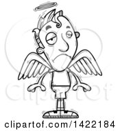 Clipart Of A Cartoon Black And White Lineart Doodled Depressed Male Angel Royalty Free Vector Illustration