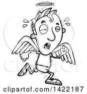 Clipart Of A Cartoon Black And White Lineart Doodled Exhausted Male Angel Running Royalty Free Vector Illustration