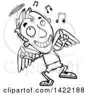 Clipart Of A Cartoon Black And White Lineart Doodled Male Angel Dancing To Music Royalty Free Vector Illustration