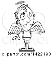 Clipart Of A Cartoon Black And White Lineart Doodled Male Angel Angrily Pointing A Finger Royalty Free Vector Illustration