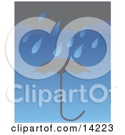 Dark Rain Cloud Raining Over An Umbrella Clipart Illustration