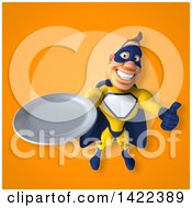 Clipart Of A 3d Muscular White Male Super Hero In A Yellow And Blue Suit Royalty Free Illustration