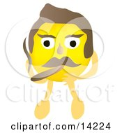 Yellow Male Smiley Face Smoking A Cigar
