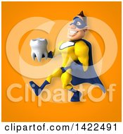 Clipart Of A 3d Muscular White Male Super Hero In A Yellow And Blue Suit Royalty Free Illustration by Julos