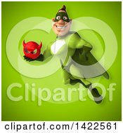 Clipart Of A 3d Buff White Male Green Super Hero Royalty Free Illustration