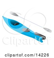 Blue Kayak And Paddle Clipart Illustration