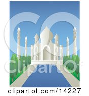 Reflecting Pool Leading Through The Gardens At The Taj Mahal Masoleum In Agra India Clipart Illustration