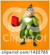 3d Buff White Male Green Super Hero