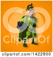 Clipart Of A 3d Buff White Male Green Super Hero Royalty Free Illustration by Julos