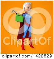 Clipart Of A 3d Young White Haired Caucasian Female Super Hero In A Blue And Red Suit Royalty Free Vector Illustration