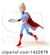Clipart Of A 3d Young White Haired Caucasian Female Super Hero In A Blue And Red Suit On A White Background Royalty Free Vector Illustration