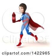 Clipart Of A 3d Young Brunette White Female Super Hero In A Blue And Red Suit On A White Background Royalty Free Vector Illustration
