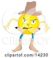 Western Cowboy Smiley Preparing To Draw His Pistils Clipart Illustration