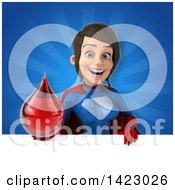 Clipart Of A 3d Young Brunette White Female Super Hero In A Blue And Red Suit Royalty Free Vector Illustration