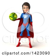 3d Young Brunette White Female Super Hero In A Blue And Red Suit On A White Background