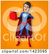 3d Young Brunette White Female Super Hero In A Blue And Red Suit