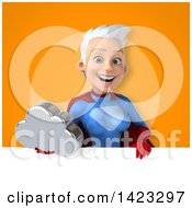 Clipart Of A 3d Young White Haired Caucasian Female Super Hero In A Blue And Red Suit Royalty Free Vector Illustration by Julos