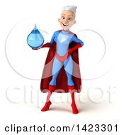 Clipart Of A 3d Young White Haired Caucasian Female Super Hero In A Blue And Red Suit On A White Background Royalty Free Vector Illustration by Julos