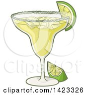 Clipart Of A Cartoon Margarita Cocktail Garnished With Lime Royalty Free Vector Illustration