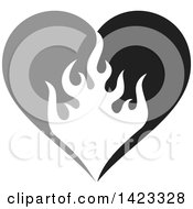 Clipart Of A Gray And Black Fire Flame Love Heart Design Element Royalty Free Vector Illustration