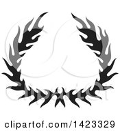 Clipart Of A Black Silhouetted Fire Flame Wreath Design Element Royalty Free Vector Illustration
