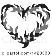 Clipart Of A Black Fire Flame Love Heart Design Element Royalty Free Vector Illustration