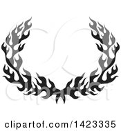 Black Silhouetted Fire Flame Wreath Design Element