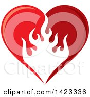 Red Flame Love Heart Design Element