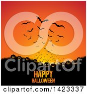 Clipart Of A Happy Halloween Greeting Under Grass Jackolantern Pumpkins And Flying Bats On Orange Royalty Free Vector Illustration