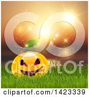 Clipart Of A Halloween Jackolantern Pumpkin In Grass Against A Sunset Royalty Free Vector Illustration