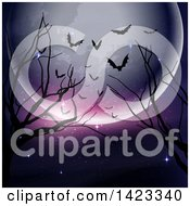 Clipart Of A Halloween Full Moon Bare Branches And Silhouetted Bats Background Royalty Free Vector Illustration