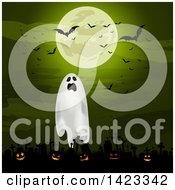 Clipart Of A Green Full Moon With Vampire Bats Over A Ghost And Lit Halloween Jackolantern Pumpkins In A Cemetery Royalty Free Vector Illustration