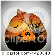 Clipart Of A Halloween Pumpkin Frame With A Scene Of A Hanging Jackolantern In A Tree Tombstones And Vampire Bats Royalty Free Vector Illustration