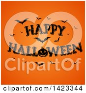 Clipart Of A Happy Halloween Greeting With Bats And A Jackolantern Pumpkin On Orange Royalty Free Vector Illustration