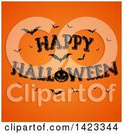 Happy Halloween Greeting With Bats And A Jackolantern Pumpkin On Orange