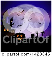 Clipart Of A Silhouetted Lit Halloween Jackolantern Pumpkin And Haunted Castle With A Rising Zombie In A Cemetery Against A Full Moon Royalty Free Vector Illustration