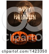 Clipart Of 3d Halloween Jackolantern Pumpkins With Happy Halloween Text Over A Blurred Haunted Castle And Full Moon Royalty Free Illustration