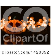 Clipart Of A 3d Halloween Jackolantern Pumpkin Over Black With Orange Flares Royalty Free Illustration